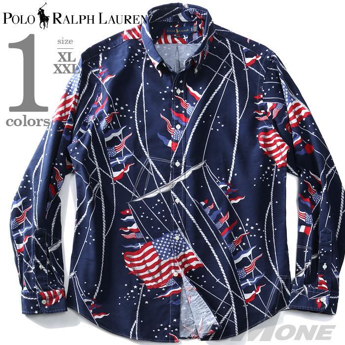 大きいサイズ メンズ POLO RALPH LAUREN ポロ ラルフローレン 総柄 ボタンダウン シャツ USA直輸入 710751635001