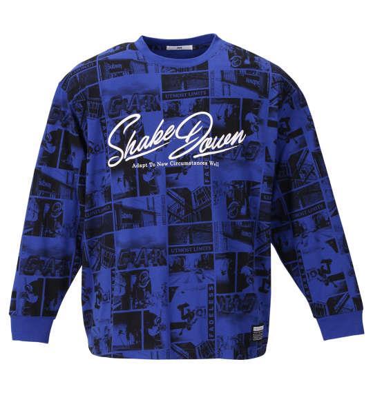 大きいサイズ メンズ RIMASTER 天竺フォト 総柄プリント 長袖 Tシャツ ロイヤルブルー 1158-9315-2 3L 4L 5L 6L 8L