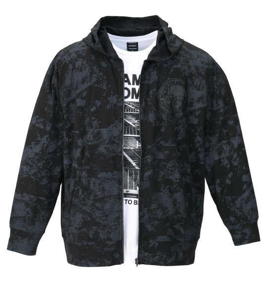 大きいサイズ メンズ BEAUMERE 総柄 フルジップ パーカー + 半袖 Tシャツ ブラック × ホワイト 1158-9320-2 3L 4L 5L 6L