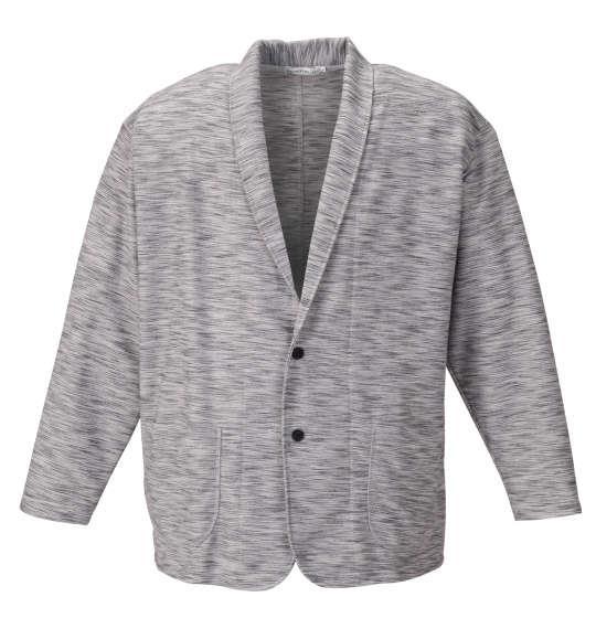大きいサイズ メンズ launching pad スラブリップル ショール ジャケット + 半袖 Tシャツ モクグレー × ホワイト 1158-9330-1 3L 4L 5L 6L