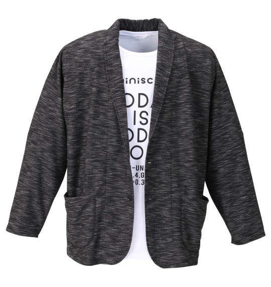 大きいサイズ メンズ launching pad スラブリップル ショール ジャケット + 半袖 Tシャツ ブラック杢 × ホワイト 1158-9330-2 3L 4L 5L 6L