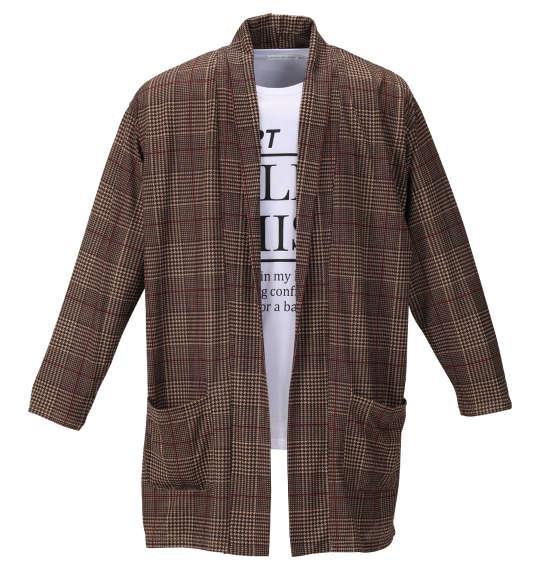 大きいサイズ メンズ launching pad グレンチェック柄 コーディガン + 半袖 Tシャツ ベージュ × ブラウン × ホワイト 1158-9331-2 3L 4L 5L 6L