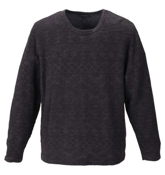 大きいサイズ メンズ in the attic オルテガジャガード 長袖 Tシャツ ブラック × チャコール 1158-9360-2 2L 3L 4L 5L 6L