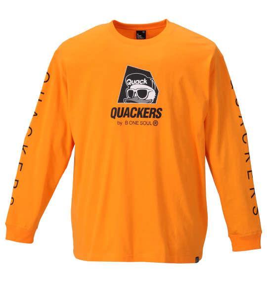 大きいサイズ メンズ b-one-soul DUCK DUDE ロゴプリント 長袖 Tシャツ オレンジ 1158-9390-1 3L 4L 5L 6L