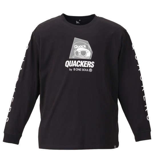 大きいサイズ メンズ b-one-soul DUCK DUDE ロゴプリント 長袖 Tシャツ ブラック 1158-9390-2 3L 4L 5L 6L