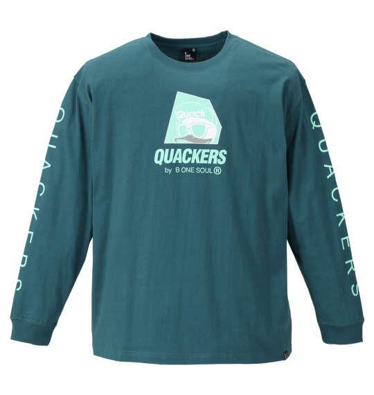 大きいサイズ メンズ b-one-soul DUCK DUDE ロゴプリント 長袖 Tシャツ エメラルドグリーン 1158-9390-3 3L 4L 5L 6L