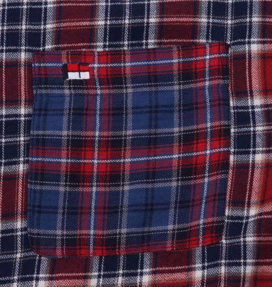 大きいサイズ メンズ H by FIGER マルチパターンチェック 長袖 B.D ネルシャツ レッド × ブルー 1167-9311-1 3L 4L 5L 6L 8L
