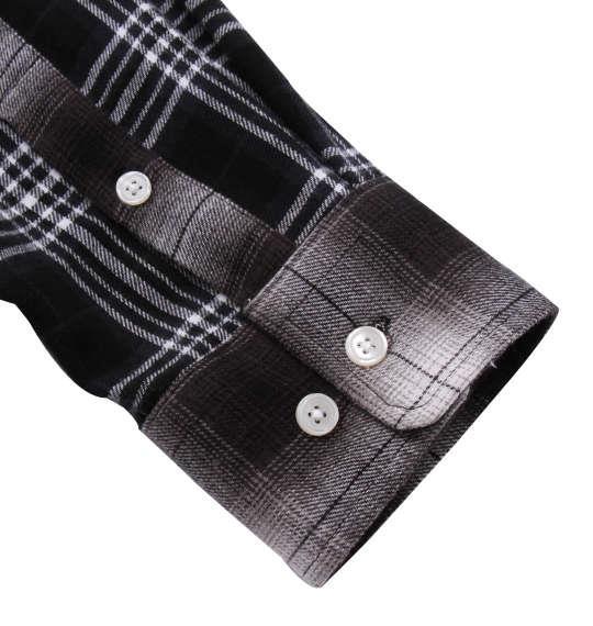 大きいサイズ メンズ H by FIGER マルチパターンチェック 長袖 B.D ネルシャツ ブラック × グレー 1167-9311-2 3L 4L 5L 6L 8L