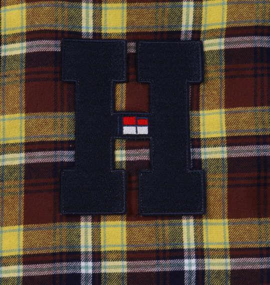 大きいサイズ メンズ H by FIGER ワッペン付 チェック 長袖 B.D ネルシャツ イエロー 1167-9312-1 3L 4L 5L 6L 8L