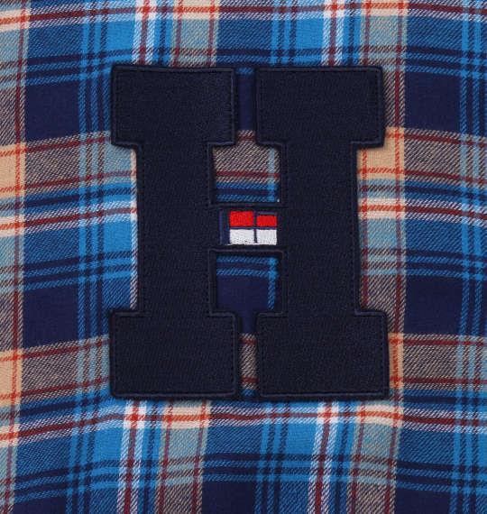 大きいサイズ メンズ H by FIGER ワッペン付 チェック 長袖 B.D ネルシャツ ブルー 1167-9312-2 3L 4L 5L 6L 8L