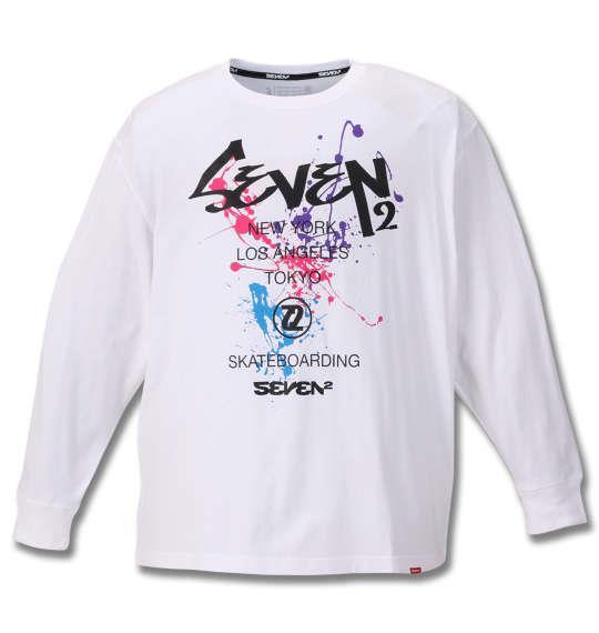 大きいサイズ メンズ SEVEN2 長袖 Tシャツ ホワイト 1168-9320-1 3L 4L 5L 6L
