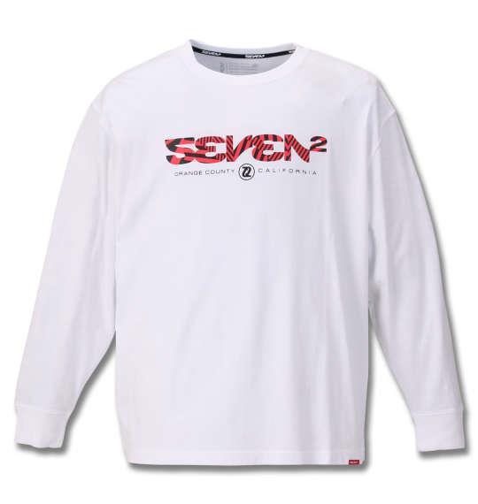 大きいサイズ メンズ SEVEN2 長袖 Tシャツ ホワイト 1168-9321-1 3L 4L 5L 6L