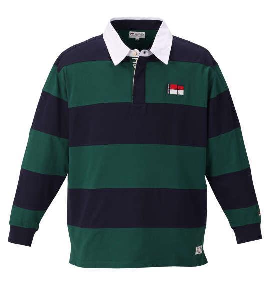 大きいサイズ メンズ H by FIGER 切替 長袖 ラガーシャツ ネイビー × グリーン 1168-9351-1 3L 4L 5L 6L 8L