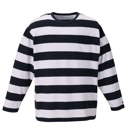大きいサイズ メンズ H by FIGER ポケット付 ボーダー 長袖 Tシャツ ネイビー × ホワイト 1168-9355-1 3L 4L 5L 6L 8L