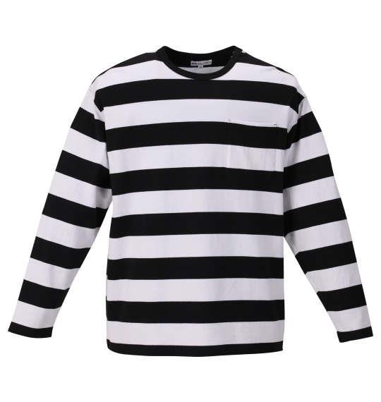 大きいサイズ メンズ H by FIGER ポケット付 ボーダー 長袖 Tシャツ ブラック × ホワイト 1168-9355-2 3L 4L 5L 6L 8L