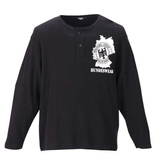 大きいサイズ メンズ BUNDESWEAR ワッフル ヘンリーネック 長袖 Tシャツ ブラック 1168-9360-2 3L 4L 5L 6L 8L