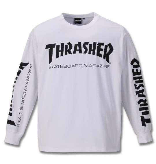 大きいサイズ メンズ THRASHER 長袖 Tシャツ ホワイト 1178-9340-1 3L 4L 5L 6L 8L