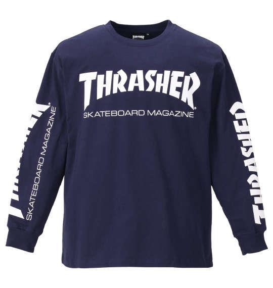 大きいサイズ メンズ THRASHER 長袖 Tシャツ ネイビー 1178-9340-3 3L 4L 5L 6L 8L