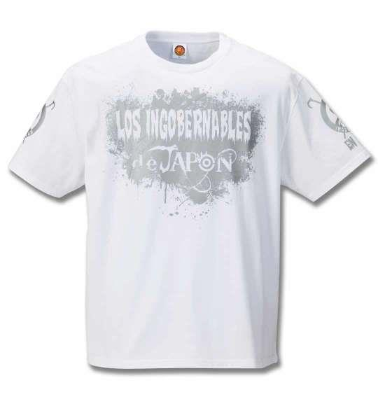 大きいサイズ メンズ 新日本プロレス BUSHI × L・I・J「MIST」 半袖 Tシャツ ホワイト × シルバー ホワイト 1178-9621-1 3L 4L 5L 6L 8L