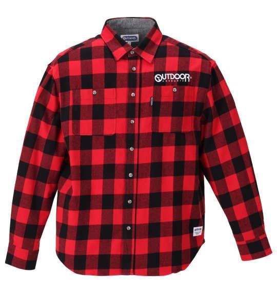 大きいサイズ メンズ OUTDOOR PRODUCTS ロゴ 刺繍 ブロック チェック 長袖 ネル シャツ レッド 1157-9300-2 3L 4L 5L 6L 8L