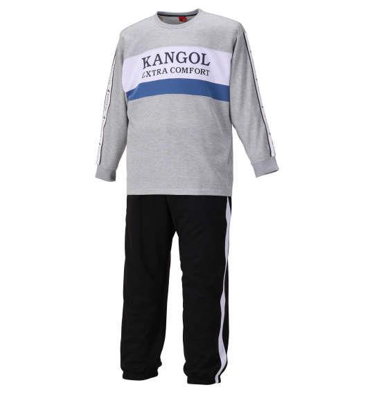 大きいサイズ メンズ KANGOL EXTRA COMFORT ダンボール 切替 スウェット セット モクグレー × ブラック 1159-9312-1 3L 4L 5L 6L 8L