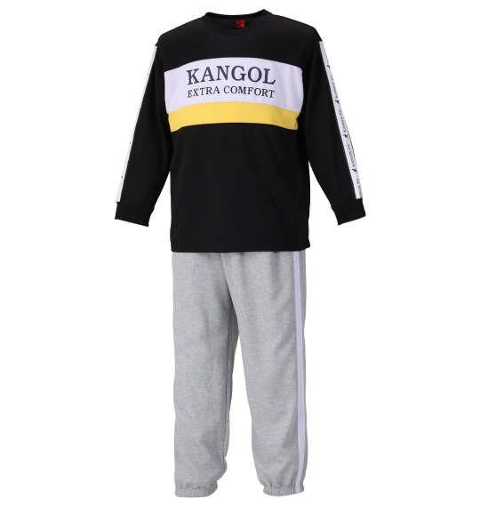 大きいサイズ メンズ KANGOL EXTRA COMFORT ダンボール 切替 スウェット セット ブラック × モクグレー 1159-9312-2 3L 4L 5L 6L 8L