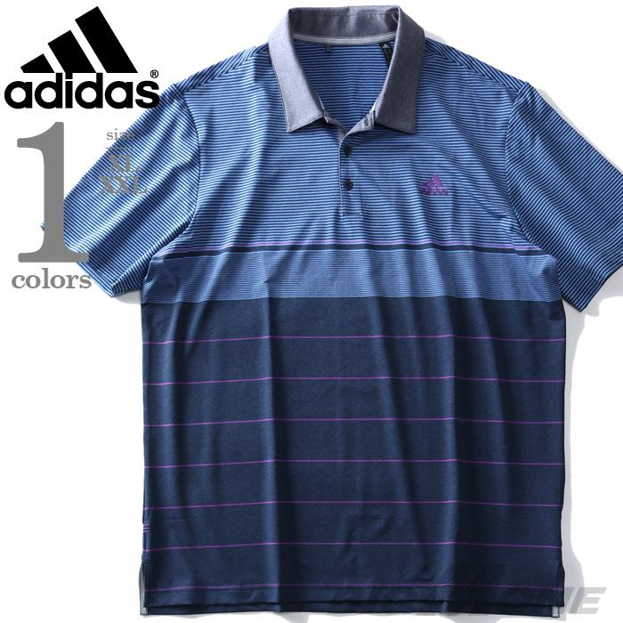 ブランドセール 大きいサイズ メンズ ADIDAS アディダス ボーダー柄 半袖 ゴルフ ポロシャツ USA直輸入 dq2227