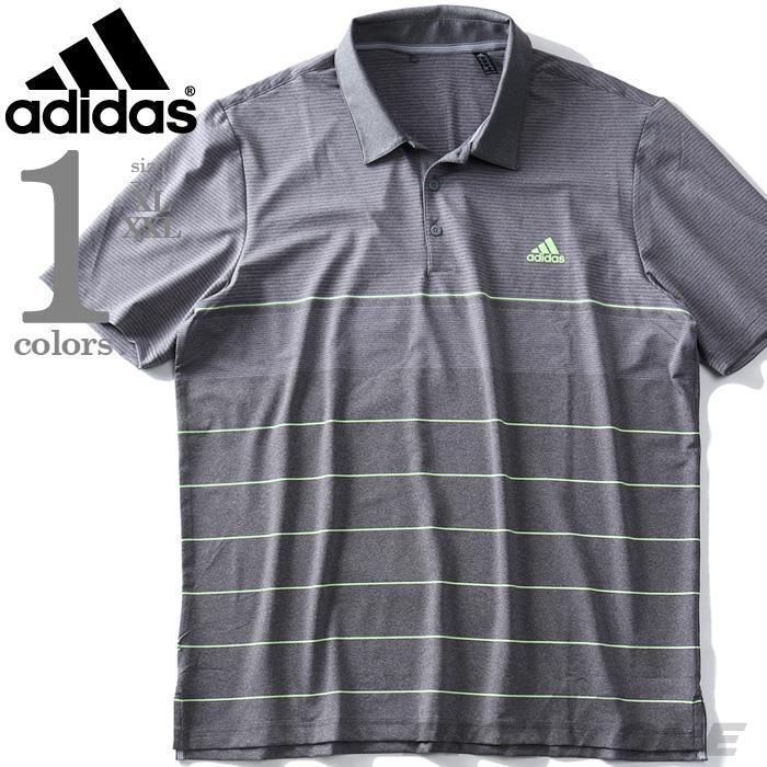 ブランドセール 大きいサイズ メンズ ADIDAS アディダス ボーダー柄 半袖 ゴルフ ポロシャツ USA直輸入 dq2228
