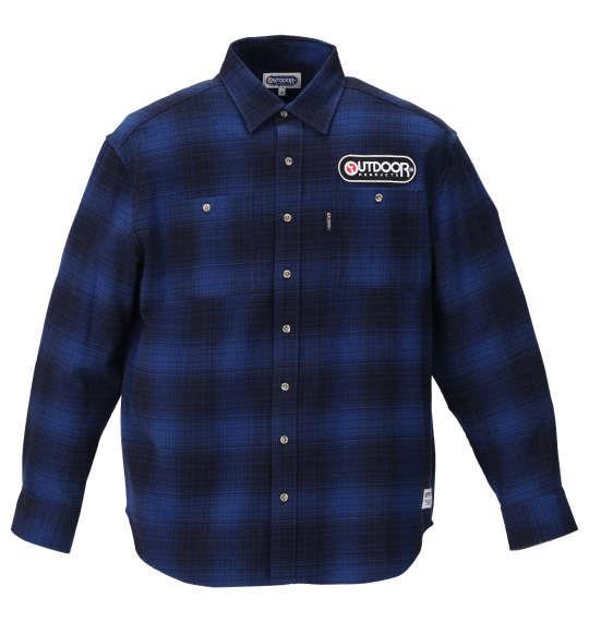 大きいサイズ メンズ OUTDOOR PRODUCTS ワッペン付 オンブレ チェック 長袖 ネル シャツ ブルー 1157-9301-2 3L 4L 5L 6L 8L