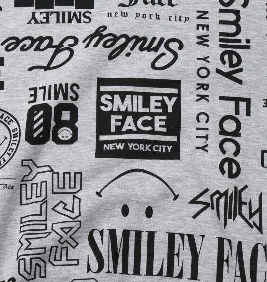 大きいサイズ メンズ SMILEY FACE 裏起毛 総柄 プル パーカー モクグレー 1158-9311-1 3L 4L 5L 6L