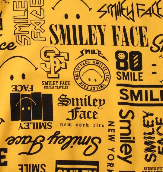 大きいサイズ メンズ SMILEY FACE 裏起毛 総柄 プル パーカー イエロー 1158-9311-2 3L 4L 5L 6L