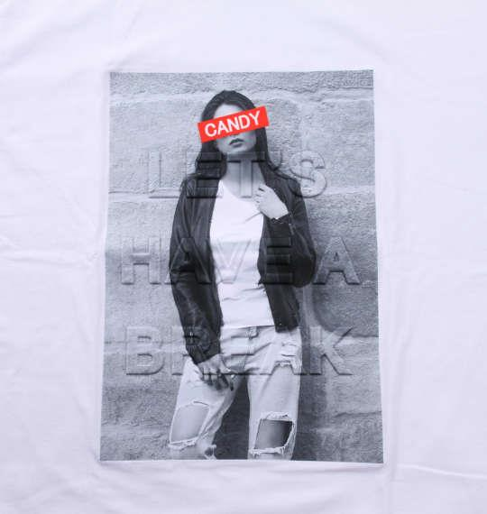 大きいサイズ メンズ MODISH GAZE エンボス加工 転写 プリント 長袖 Tシャツ ホワイト 1158-9325-1 3L 4L 5L 6L