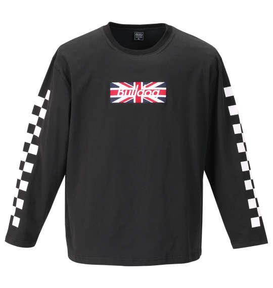 大きいサイズ メンズ SHELTY 天竺 刺繍 & プリント 長袖 Tシャツ ブラック 1158-9370-2 3L 4L 5L 6L