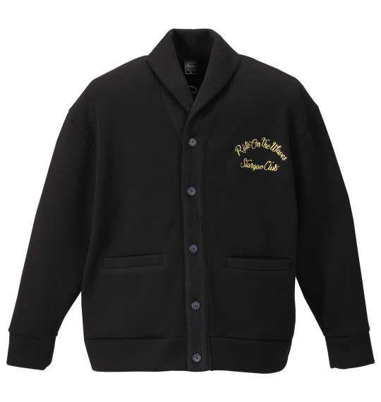 大きいサイズ メンズ SHELTY ニット フリース 刺繍 ショール カーディガン ブラック 1158-9372-2 3L 4L 5L 6L