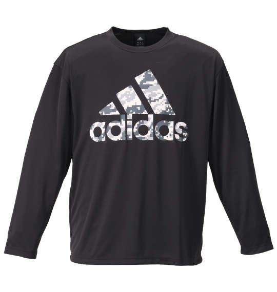 大きいサイズ メンズ adidas 長袖 Tシャツ ブラック 1178-9310-2 3XO 4XO 5XO 6XO 7XO 8XO