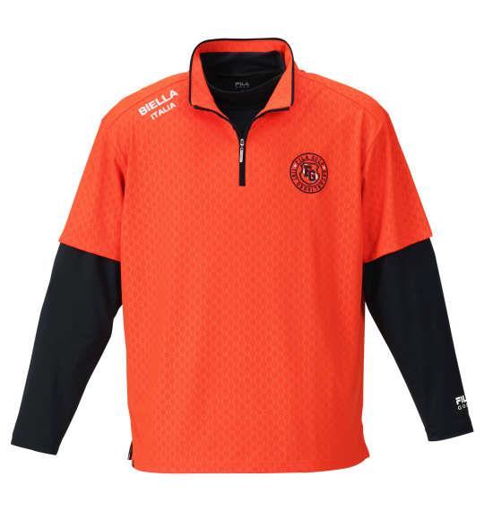 大きいサイズ メンズ FILA GOLF ハーフジップ 半袖 シャツ + インナー セット オレンジ × ネイビー 1178-9336-1 3L 4L 5L 6L