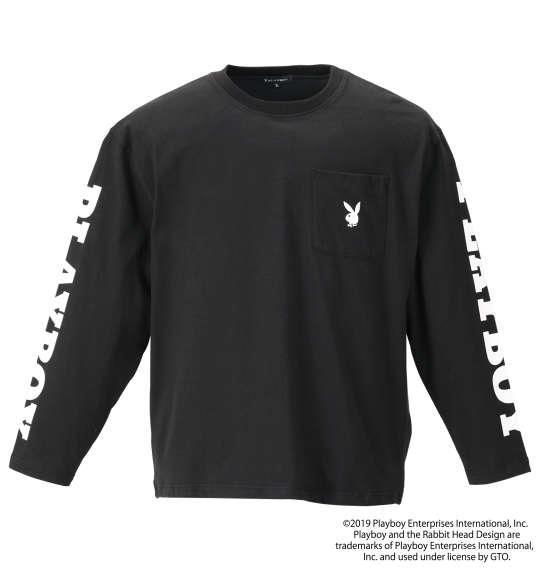大きいサイズ メンズ PLAYBOY 天竺 プリント 長袖 Tシャツ ブラック 1178-9600-2 3L 4L 5L 6L