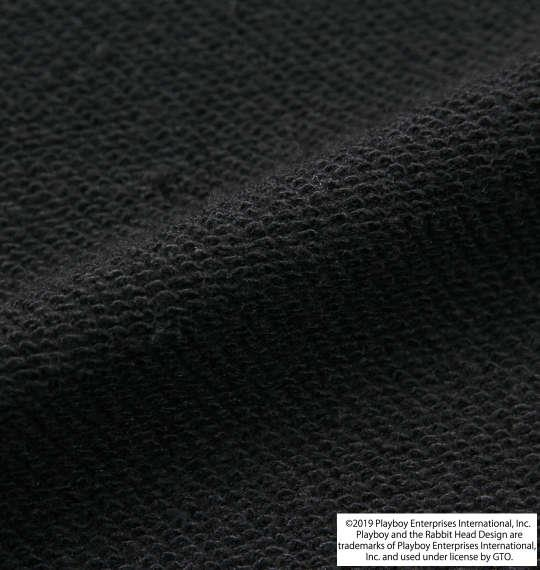 大きいサイズ メンズ PLAYBOY 裏毛 プリント クルーネック スウェット ブラック 1178-9601-2 3L 4L 5L 6L