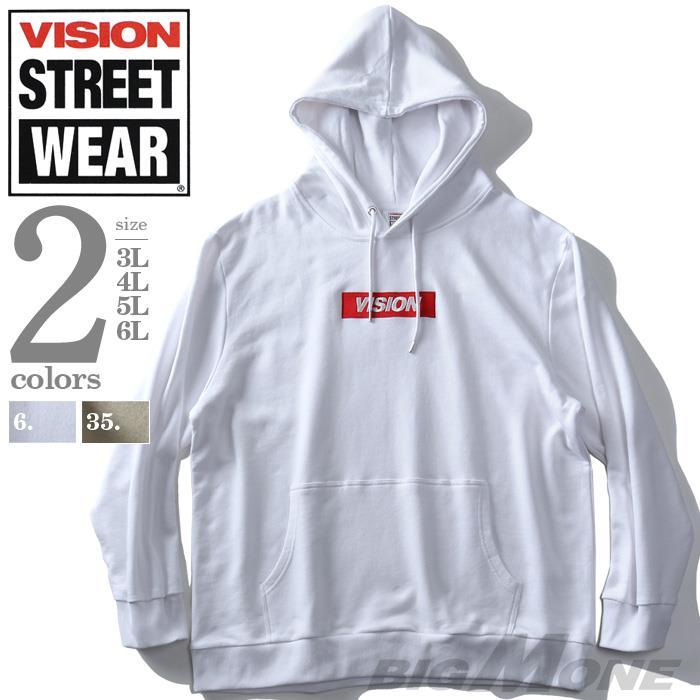 大きいサイズ メンズ VISION STREET WEAR BOX ロゴ プルオーバー パーカー 秋冬新作 9704115