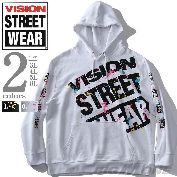 大きいサイズ メンズ VISION STREET WEAR スプラッシュ プリント プルオーバー パーカー 秋冬新作 9704117