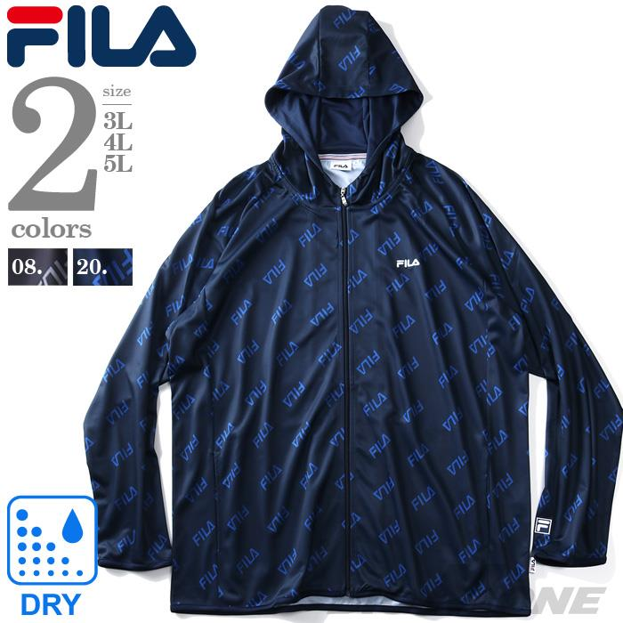 大きいサイズ メンズ FILA フィラ 総柄 フルジップ パーカー 秋冬新作 fm5057