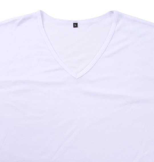 大きいサイズ メンズ Heatchanger 長袖 V Tシャツ ホワイト 1149-9370-1 3L 4L 5L 6L 8L