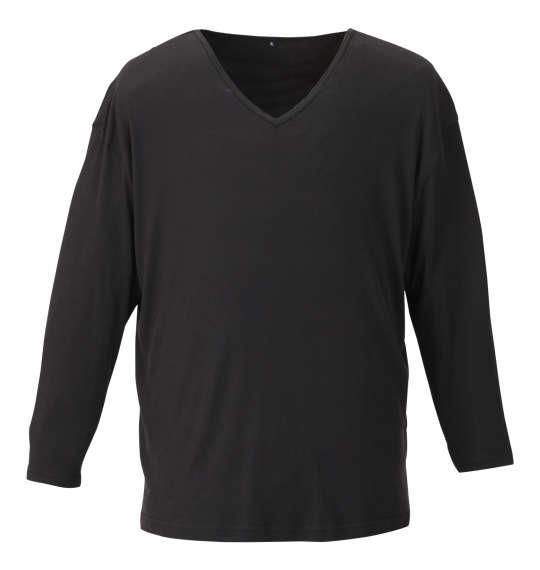 大きいサイズ メンズ Heatchanger 長袖 V Tシャツ ブラック 1149-9370-2 3L 4L 5L 6L 8L