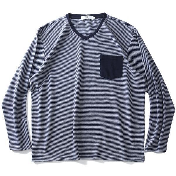 大きいサイズ メンズ DANIEL DODD ポケット付 Vネック ボーダー柄 ロング Tシャツ azt-190454