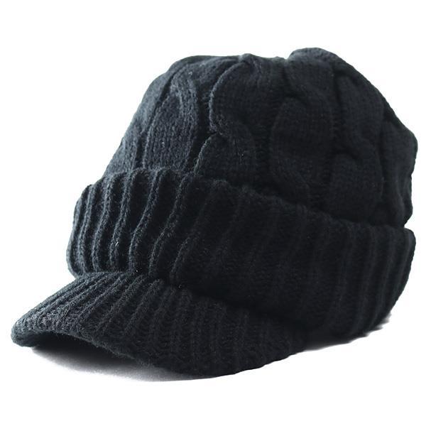 大きいサイズ メンズ AZ DEUX つば付き ニット キャップ 帽子 714-190601