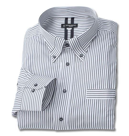 大きいサイズ メンズ HIROKO KOSHINO HOMME マイター B.D 長袖 シャツ ホワイト × ブラック 1177-9305-1 3L 4L 5L 6L 7L 8L