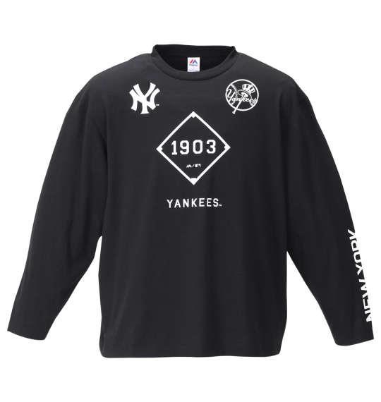 大きいサイズ メンズ Majestic プリント 長袖 Tシャツ ブラック 1178-9315-2 3L 4L 5L 6L