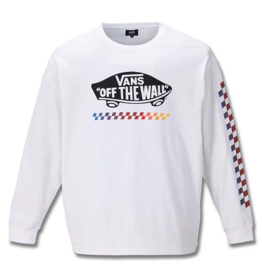 大きいサイズ メンズ VANS 長袖 Tシャツ ホワイト 1178-9660-1 3L 4L 5L