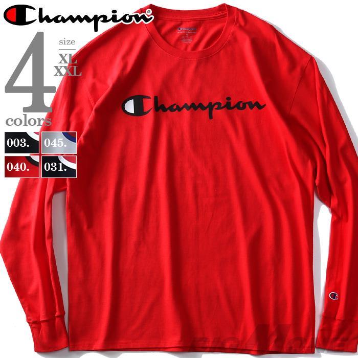 大きいサイズ メンズ Champion チャンピオン ロゴ プリント ロング Tシャツ USA直輸入 gt78h