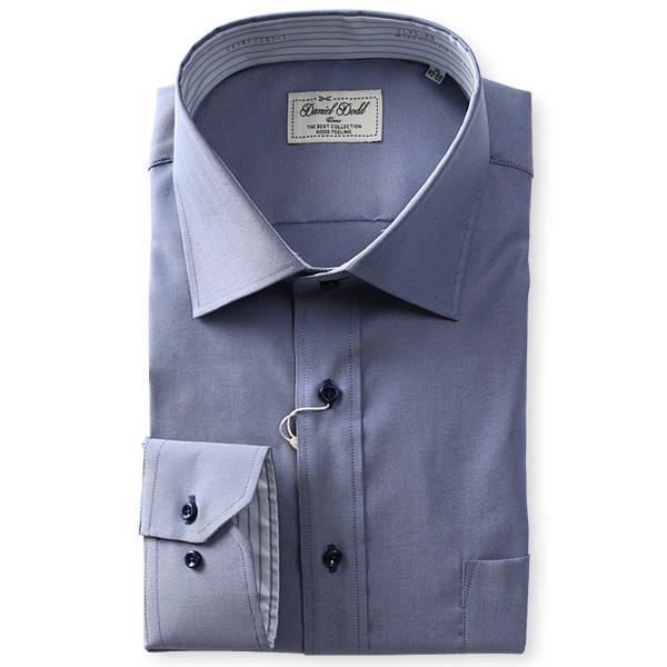 2点目半額 大きいサイズ メンズ DANIEL DODD 形態安定 長袖 ワイシャツ ショートワイド ストレッチ 秋冬新作 d494az103